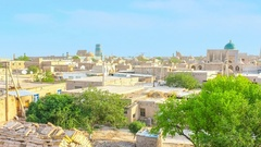 Panoramic time-lapse of the old earthen town Khiva Stock Footage