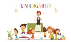 Kindergarden Teacher With Kids Cartoon Illustration Stock Illustration