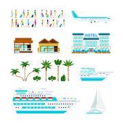 Tropical Cruise Elements Set Stock Illustration