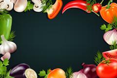 Black Background With Colorful Vegetables Frame Stock Illustration