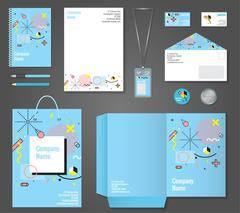Stationery Corporate Identity Memphis Style Stock Illustration