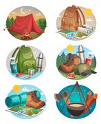 Camping Round Compositions Set Stock Illustration