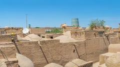 The animated panoramic view on the medieval muslim cemetery in the old town Stock Footage