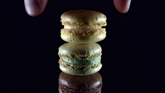 4k Dessert Sweets, Hand Takes one Macaroon Stock Footage
