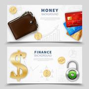 Realistic Money Horizontal Banners Stock Illustration