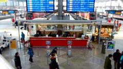 Information desk at Munich central station, time lapse and tilt shift Stock Footage