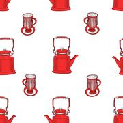 Seamless pattern with tea pots and tea cups Stock Illustration