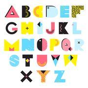 Alphabet Memphis Style Illustration Stock Illustration