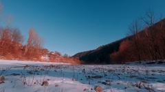 Timelapse round. Winter landscape houses and forest Stock Footage