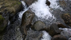 Water stream between the rocks of a river that crosses the town of Wanhsou Qiao. Stock Footage