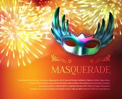 Masquerade Fireworks Display Poster Stock Illustration