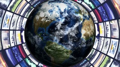 Monitors Tunnel and Earth, Rendering, Animation, Background, Loop, 4k Stock Footage
