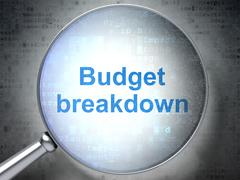 Business concept: Budget Breakdown with optical glass Piirros