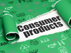 Business concept: black text Consumer Products under the piece of  torn pape Stock Illustration
