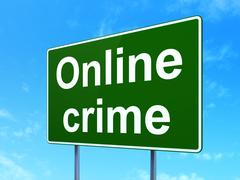 Security concept: Online Crime on road sign background Stock Illustration