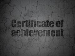 Learning concept: Certificate of Achievement on grunge wall background Stock Illustration