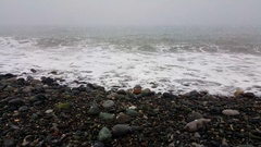 The sea shore with the snow in Batumi Stock Footage