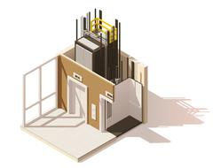 Vector isometric low poly elevator cutaway icon Stock Illustration