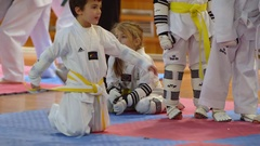 1096 Florence, Italy, 22 January 2017 - 6 and 7 years old kids getting prepared. Stock Footage