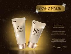 Glamorous CC and BB cream packages on the sparkling effects background. Stock Illustration