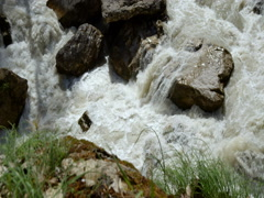 Threshold of the mountain river Stock Footage