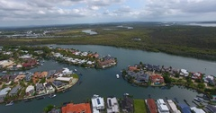 Canal homes Aerial view. Stock Footage