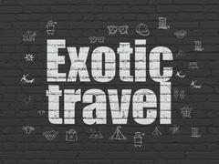 Travel concept: Exotic Travel on wall background Stock Illustration