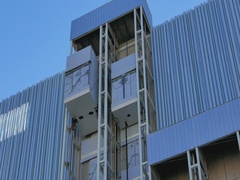 Facade Elevators on modern building Stock Footage