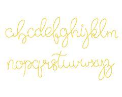 Gold glitter script alphabet. Shiny brush calligraphy typeface Stock Illustration
