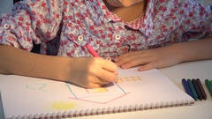 4K Child Drawing House, Girl Coloring, Kids Making Craft, Children Education Stock Footage