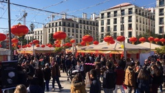 Crowded City Square Decorated For Chinese New Year Party  Stock Footage