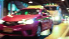 HD - Night lights streak as we travel down a city street Stock Footage