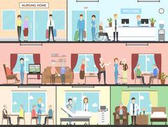 Nursing home interior. Piirros