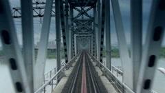 Camera sweeps across the railway bridge Stock Footage
