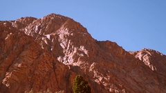 Lifeless mountain lit by the sun Stock Footage