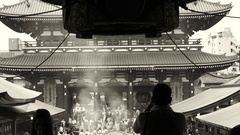 Tokyo, Japan Senso-ji Temple in Asakusa area. People praying Stock Footage