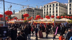 People In Chinese New Year Celebration On a Beautiful Sunny Day Stock Footage