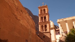 Tower in the monastery of St. Catherine Stock Footage