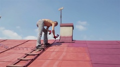 Summer roof paint Stock Footage