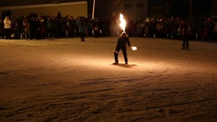 Fire show. Creative fiery artist. Artist blowing fire from his mouth Stock Footage