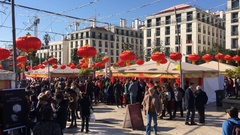 Chinese New Year Celebration In Crowded Square Stock Footage