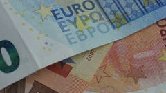 Fragment of euros banknotes. Abstract background. Close up Stock Footage