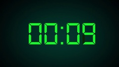 LCD Clock Countdown 10 - 0 Graphic on Background with Camera Movement Stock Footage