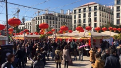 Crowd of People In Chinese New Year Celebration Stock Footage