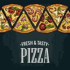Horizontal poster slice pizza Pepperoni, Hawaiian, Margherita, Mexican, Sea.. Stock Illustration