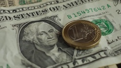 Euro coin and us dollar banknote background. Finance concept Stock Footage