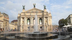 Lviv Opera and Ballet Theatre with fountain Stock Footage