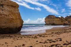 Rocky cliffs on the coast of the Atlantic ocean Stock Photos