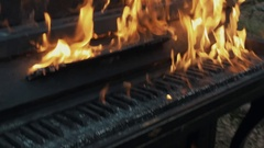 Slowmotion close up high flames burning piano and tree trunk in forest Stock Footage