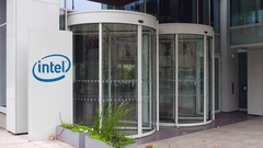 Street signage board with Intel Corporation logo. Modern office building Stock Footage